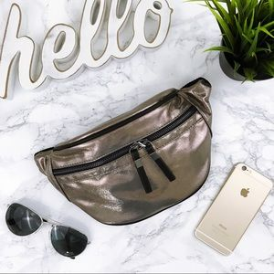 Pewter Metallic Vegan Microfiber Zip Fanny Pack